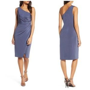 Ruched One-shoulder Cocktail Dress In Steel